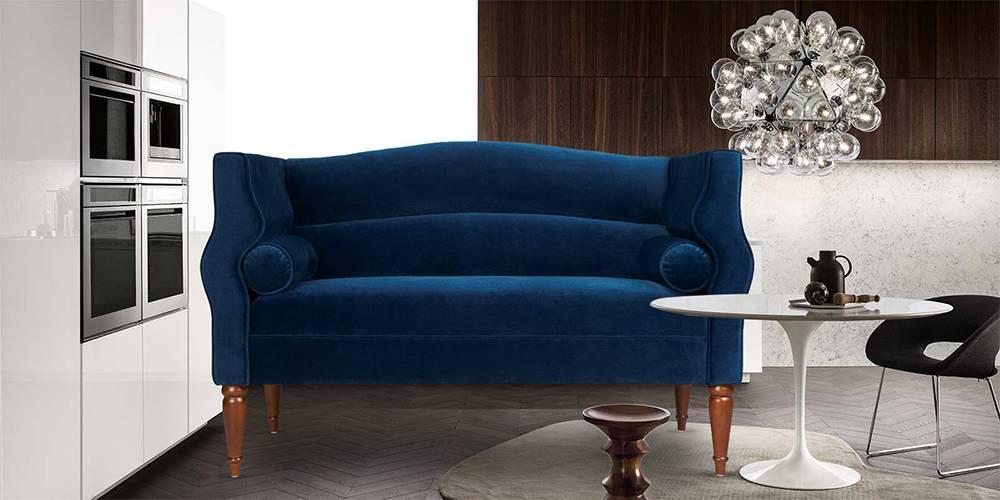 Lagos Fabric Sofa (Blue) by Urban Ladder - -