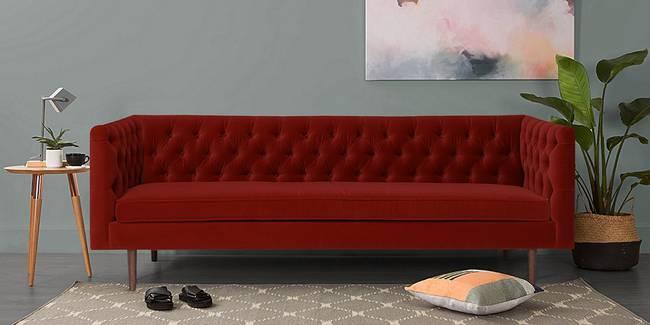 Rosario Fabric Sofa(Maroon) (3-seater Custom Set - Sofas, None Standard Set - Sofas, Maroon, Fabric Sofa Material, Regular Sofa Size, Regular Sofa Type)