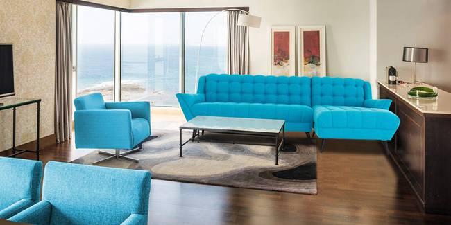 Sofia Sectional Fabric Sofa (Blue) (Blue, None Standard Set - Sofas, Fabric Sofa Material, Regular Sofa Size, Soft Cushion Type, Sectional Sofa Type, Left Sectional Sofa Custom Set - Sofas)