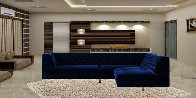 Taylor Sectional Fabric Sofa (Navy Blue) (None Standard Set - Sofas, Navy Blue, Fabric Sofa Material, Regular Sofa Size, Soft Cushion Type, Sectional Sofa Type, Left Sectional Sofa Custom Set - Sofas)