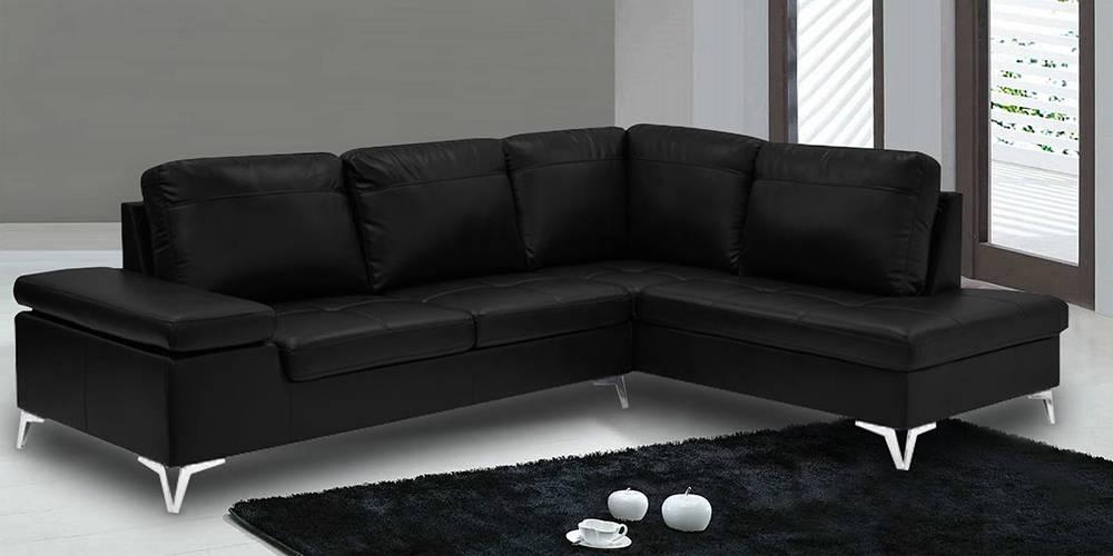 Hamilton Sectional Leatherette Sofa(Black) by Urban Ladder - -