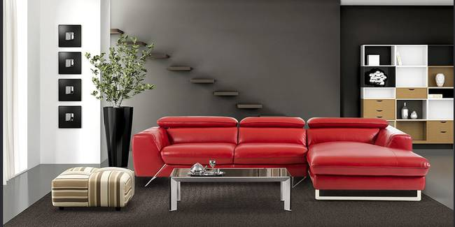 Tempe Sectional Sofa (Red) (Red, None Standard Set - Sofas, Leatherette Sofa Material, Regular Sofa Size, Soft Cushion Type, Sectional Sofa Type, Left Sectional Sofa Custom Set - Sofas)