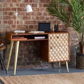 Faraj Study Table (Melamine Finish, Honey & Tile Natural) by Urban Ladder - Cross View Design 1 - 364810