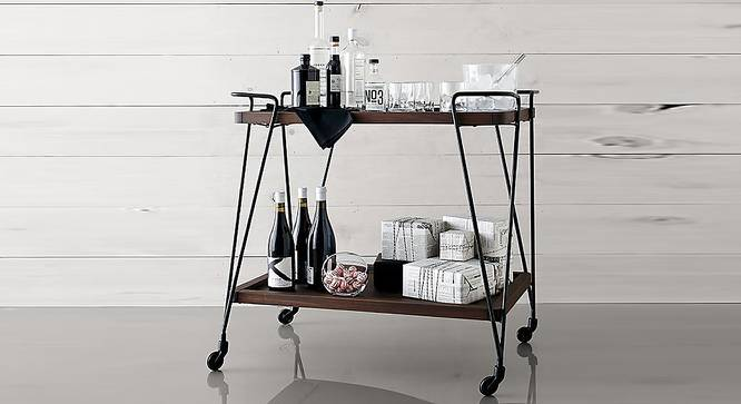 Zoey Bar Cabinet (Melamine Finish, Walnut & Black) by Urban Ladder - Front View Design 1 - 364965