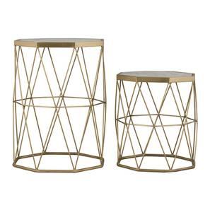 Rune Nested Table (Brass Finish, Brass White) by Urban Ladder - Design 1 - 365090
