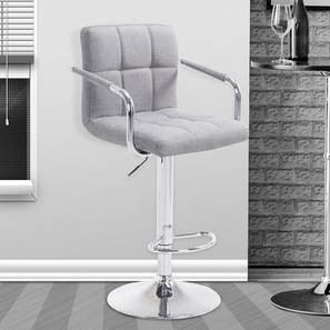 Bev Bar Stool (Light Grey, Metal & Leatherette Finish) by Urban Ladder - Cross View Design 1 - 365230