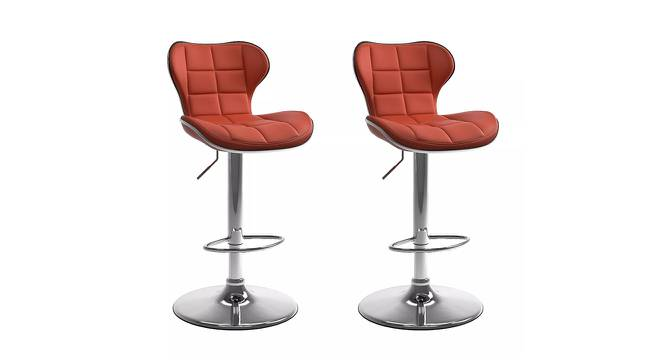 Brently Bar Stool (Red, Metal & Leatherette Finish) by Urban Ladder - Cross View Design 1 - 365229