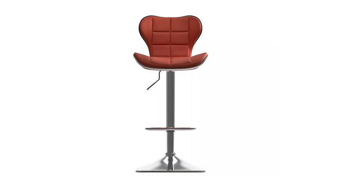 Brently Bar Stool (Red, Metal & Leatherette Finish) by Urban Ladder - Front View Design 1 - 365247