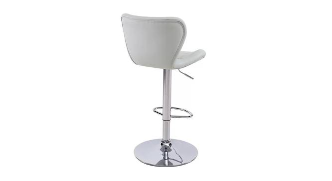 Jerald Bar Stool (Light Grey, Metal & Leatherette Finish) by Urban Ladder - Front View Design 1 - 365691
