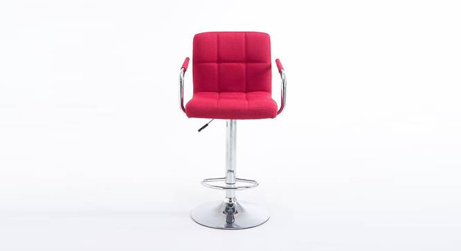 Halsey Bar Stool (Red, Metal & Leatherette Finish) by Urban Ladder - Front View Design 1 - 365693