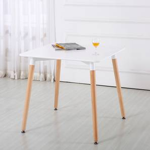 Layne 4 Seater Dining Table (White, Gloss Finish) by Urban Ladder - Cross View Design 1 - 365777