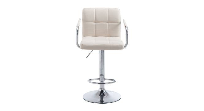 Mills Bar Stool (Cream, Metal & Leatherette Finish) by Urban Ladder - Front View Design 1 - 365908
