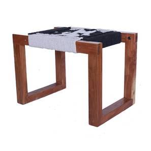 Violet Bench (Natural Finish, Black & White) by Urban Ladder - Cross View Design 1 - 366228