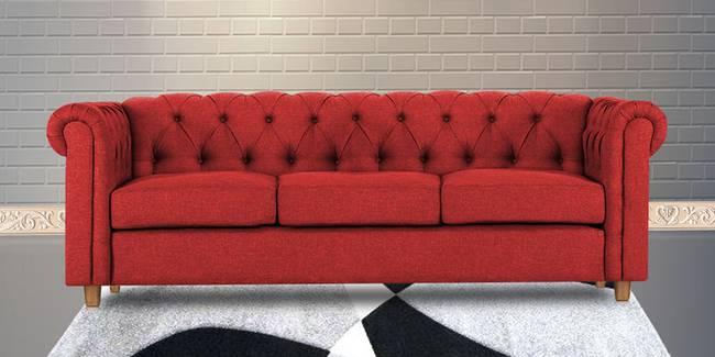 Starthford Fabric Sofa- Maroon (3-seater Custom Set - Sofas, None Standard Set - Sofas, Maroon, Fabric Sofa Material, Regular Sofa Size, Regular Sofa Type)