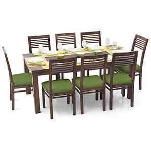 Arabia XL - Zella 8 Seater Dining Set (Teak Finish, Avocado Green) by Urban Ladder