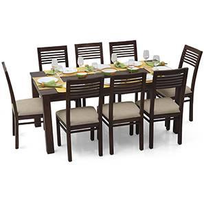 Arabia XL - Zella 8 Seater Dining Set (Mahogany Finish, Wheat Brown) by Urban Ladder