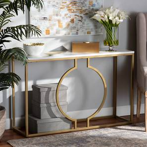 Zeus Console Table (Gold, Powder Coating Finish) by Urban Ladder - Cross View Design 1 - 368577