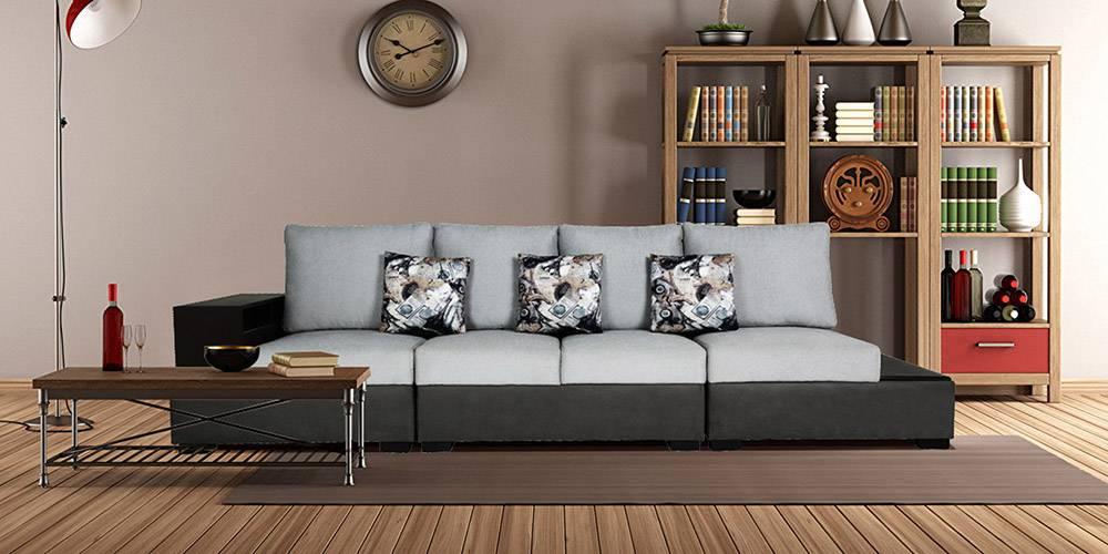 Suwon U Shape Leatherette Sofa - Grey by Urban Ladder - -