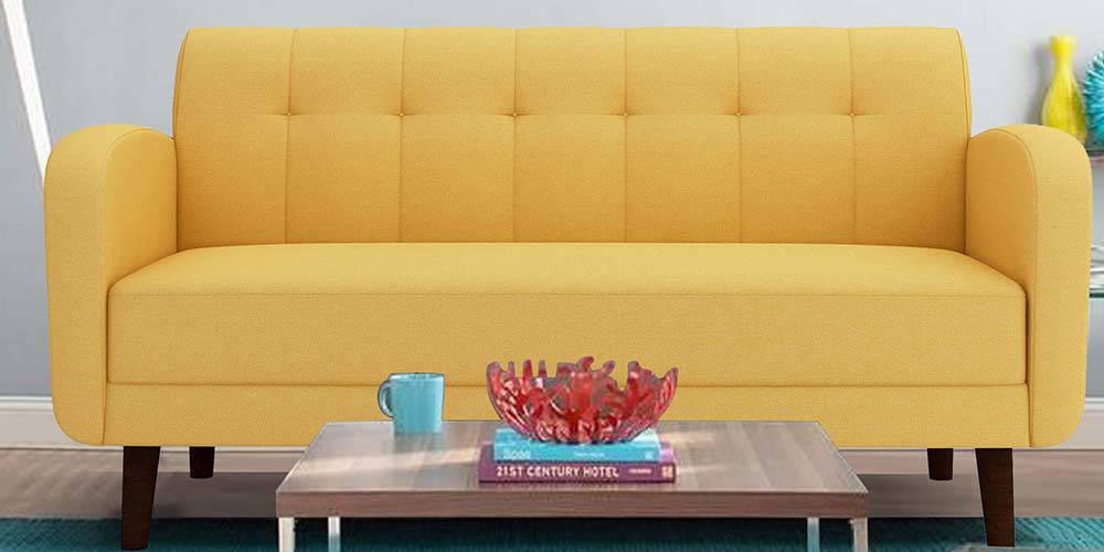 Swindon Fabric Sofa - Yellow by Urban Ladder - -