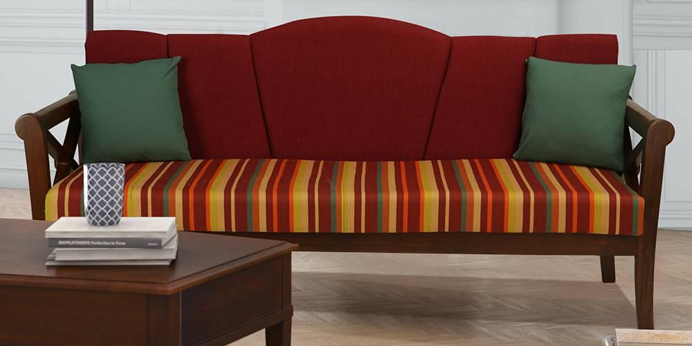 Bari Wooden Sofa  - Red by Urban Ladder - -