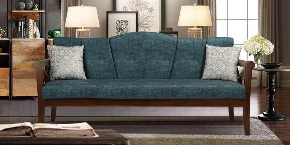 Bari Wooden Sofa  - Blue by Urban Ladder - -