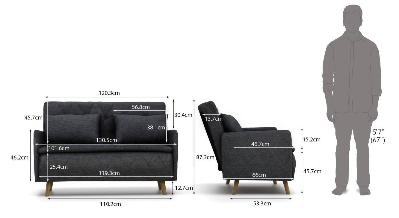 Makati sofa cum bed dark grey 06
