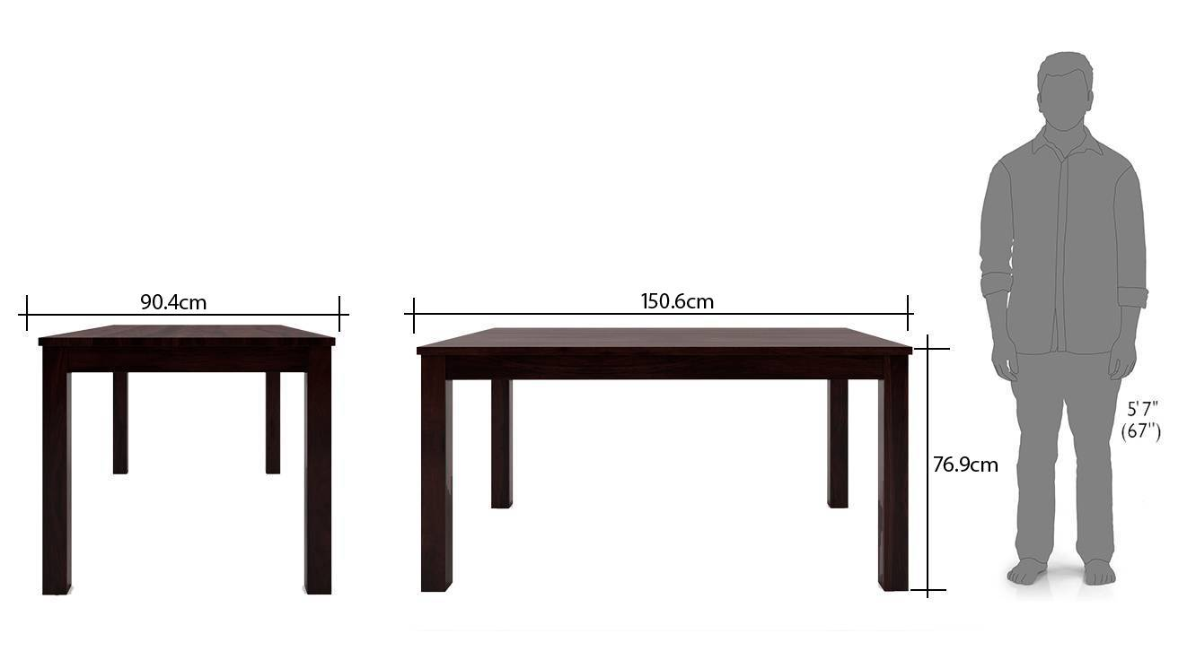Arabia oribi 6 seater dining table set with bench mahogany finish wheat brown dim3