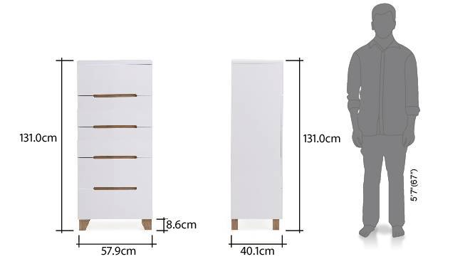 Oslo tall chest of drawer white 22