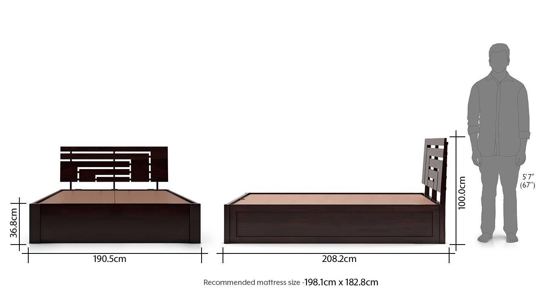 Stockholm storage bed mahogany finish new dim 27