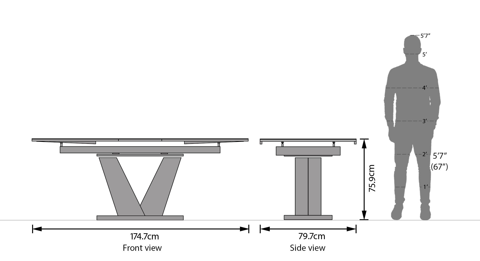 Caribu 4 to 6 extendable 6 seater dining table set dark grey dim 54