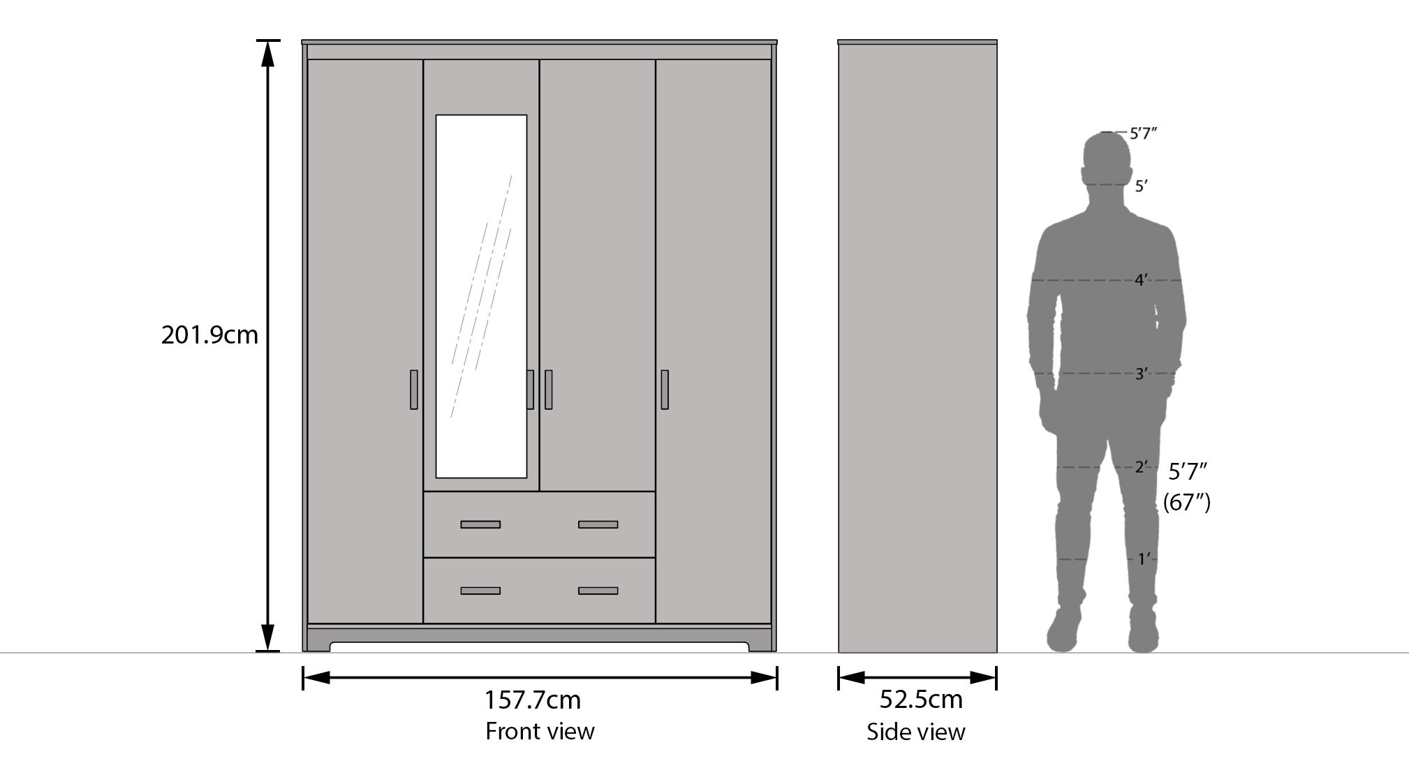Hilton 4 door 2 drawer wardrobe dimension 2