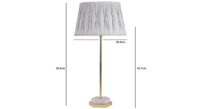 Hexa Table Lamp (Grey Shade Colour, Cotton Shade Material, Brass White) by Urban Ladder - -