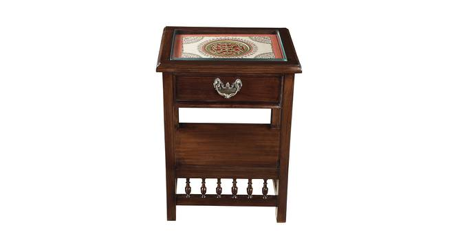 Jeevika End Table (Walnut, Matte Finish) by Urban Ladder - Front View Design 1 - 371077