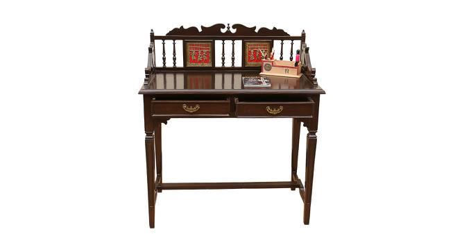 Pihu Study Table (Walnut, Matte Finish) by Urban Ladder - Front View Design 1 - 371317