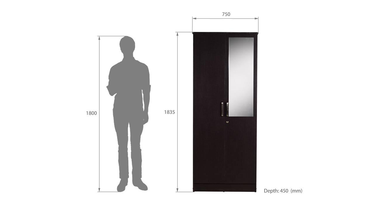 Cassidy 2 door wardrobe with mirror wenge color laminate finish 6