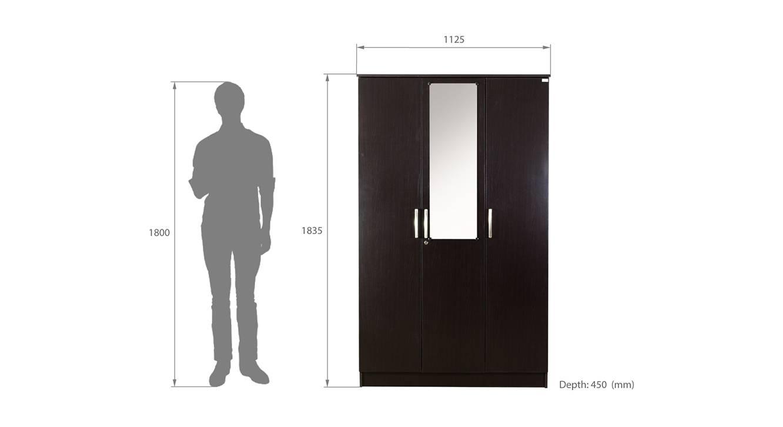Luciana 3 door wardrobe with mirror wenge color laminate finish 6