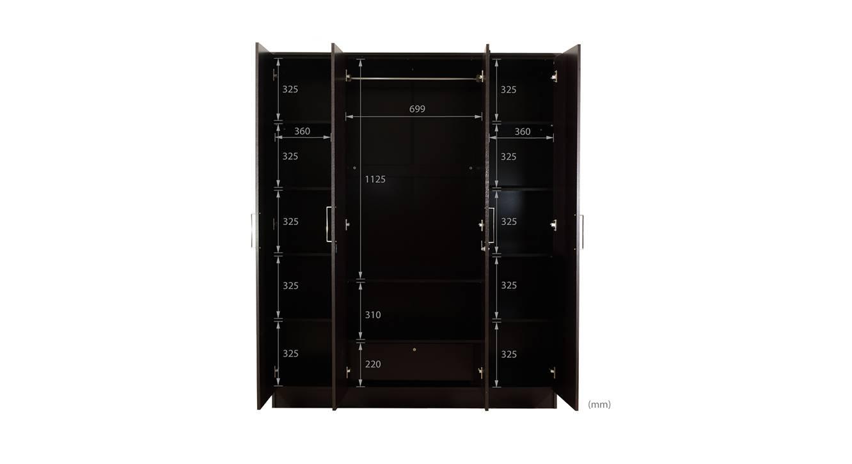 Maisie 4 door wardrobe with mirror wenge color laminate finish 7