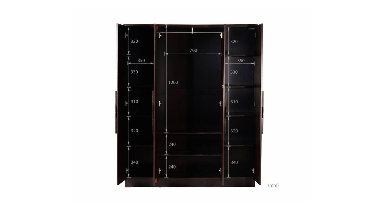 Mabel 4 door wardrobe wenge color melamine finish 7