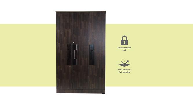 Nayeli 3 door Wardrobe (Melamine Finish, Wenge) by Urban Ladder - Front View Design 1 - 372233