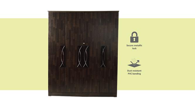 Raven 4 door Wardrobe (Melamine Finish, Wenge) by Urban Ladder - Front View Design 1 - 372310