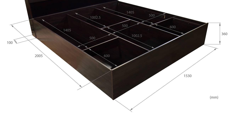 Ponza storage bed wenge color melamine finish 8