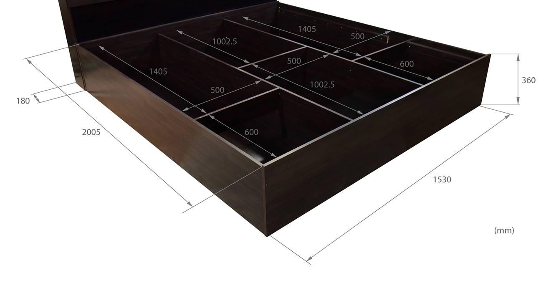 Honshu storage bed wenge color melamine finish 8