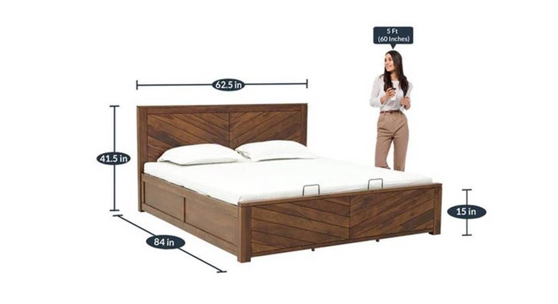 Morty storage bed provincial teak color semi gloss finish 6