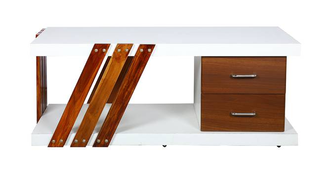 Pedro Coffee Table (White & Brown, White & Brown Finish) by Urban Ladder - Front View Design 1 - 372860