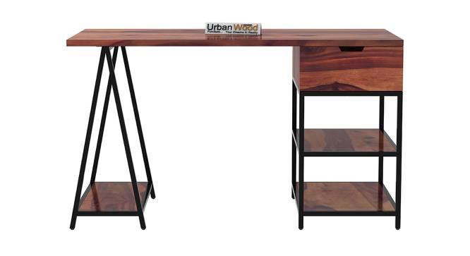 Sloan Black Study Table (Teak, Matte Finish) by Urban Ladder - Front View Design 1 - 373409