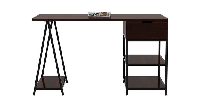 Sloan Black Study Table (Walnut, Matte Finish) by Urban Ladder - Front View Design 1 - 373494