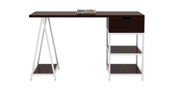 Sloan White Iron Study Table (Walnut, Matte Finish) by Urban Ladder - Front View Design 1 - 373498