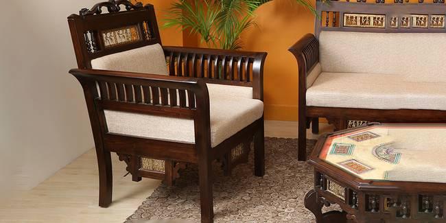 Priyala Wooden Sofa - Walnut (1-seater Custom Set - Sofas, None Standard Set - Sofas, Regular Sofa Size, Regular Sofa Type, Walnut, Solid_Wood Sofa Material)