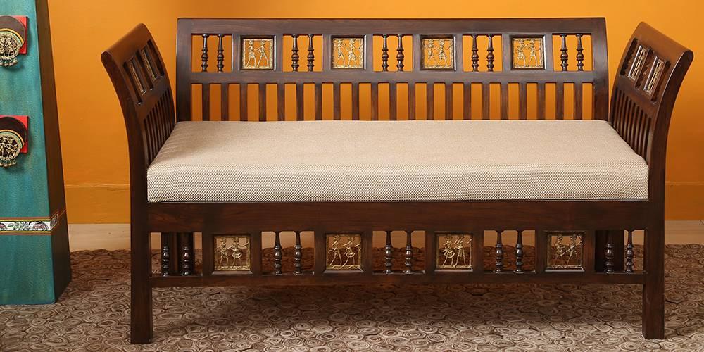 Qushi Wooden Sofa - Walnut by Urban Ladder - -