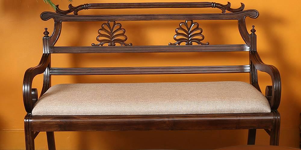 Qiyara Wooden Sofa - Walnut by Urban Ladder - -